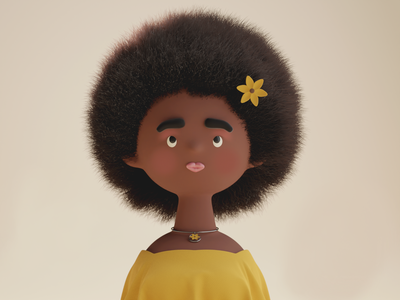 Fun with faces #2 afro flowers woman girl face portrait character render 3d illustration blender