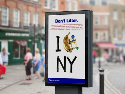 Don't Litter mta poster litter psa campaign subway nyc