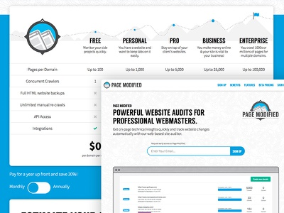PageModified Landing Page & Pricing
