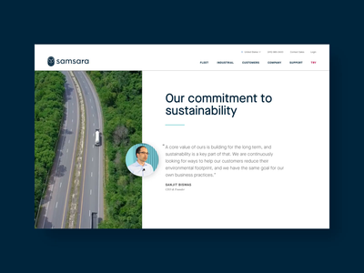 Sustainability at Samsara sustainability environment website web design web ux ui typography site motion marketing layout design brand animation