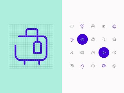 Sistema de iconos user interface ui ux hotel flight travel despegar branding app icon icons set