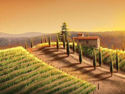 Tuscany Scene beautiful gold rich tuscany illustration sunset crops italy scene wine orange green mountains stone peace warm