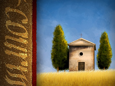 Tuscany Church tuscany illustration church trees crops field blue sky texture stone christian red daytime tan little stucco