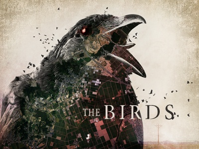 The Birds - Alfred Hitchcock the birds alfred hitchcock horror bird crow classic scary red grunge cody courmier denver movie title