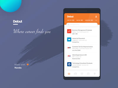 Debut - Mobile App UI ui ux design mobile application ui design debut recruitment list