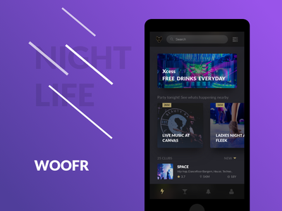 Woofr Nightlife App - Redesign dark ux ui nightlife mobile iphone interface event entertainment design redesign app