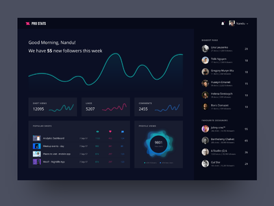 Pro Stats Dashboard - Dribbble ui app web minimal graphs dashboard dark