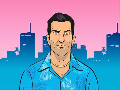 Tommy Vercetti game fanart rockstargames design character vector illustrator illustration art vicecity gta
