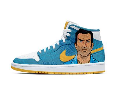 Design concept of Nike sneakers fanart design character illustrator illustration art shoes custom sneakers gta