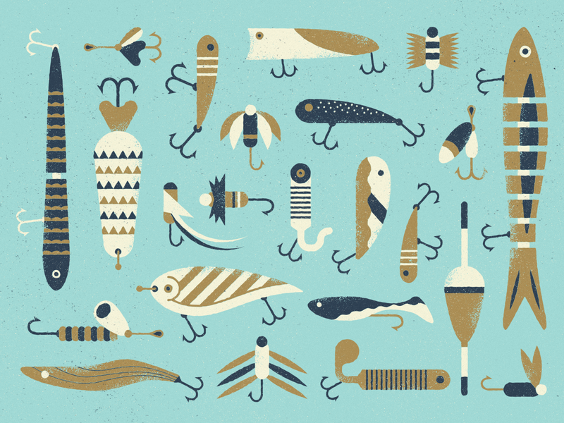 Fishy texture lures fishing illustration