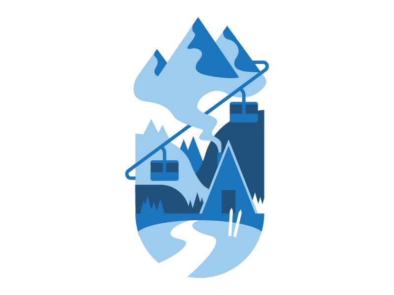 Winter illustration skiing mountain winter