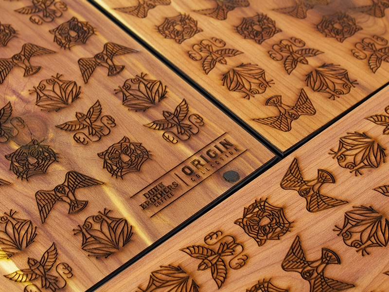 Wooden notebook covers wood coffee illustration