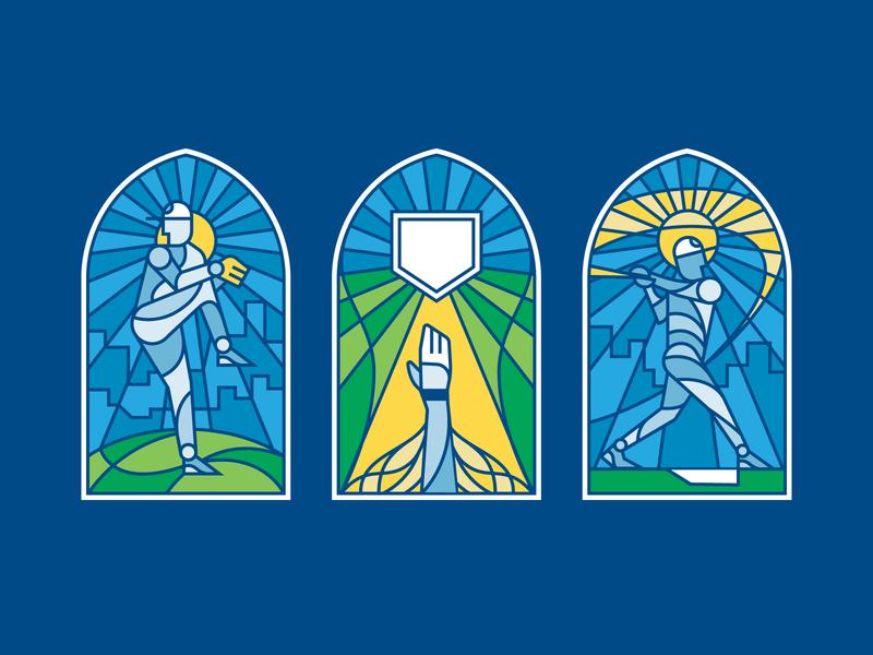 That's Baseball stained glass illustration baseball