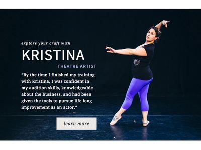 Homepage Design: KristinaFriedgen.com button noto serif theatre photography web design source sans pro