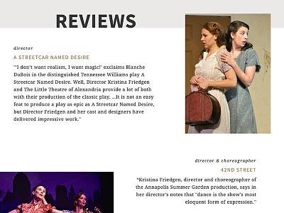 Kristina Friedgen Reviews photography editorial web page website director actor