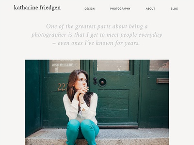 Photography Page clean editorial web design photography