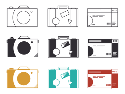 Travel Icon Sketches  sketch identity logo ticket suitcase camera icons travel