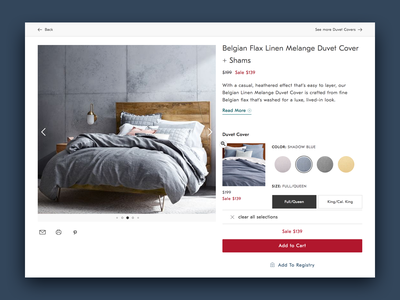 Product Detail Page - Multiple Product Page ux design design ui photography cta add to cart duvet multi-buy furniture product bedding multiple product page concept product detail page pdp