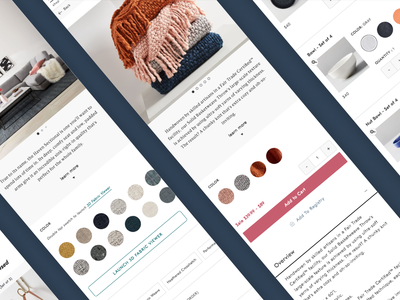 Project Detail Page - Mobile couch furniture blankets modern ui ux-ui ux retail design mobile accordion beta progressive web app pwa swatch fabric west elm home goods retail product detail page pdp