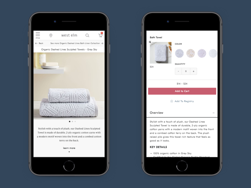 Product Detail Page - Multiple Product Page pwa ux  ui ux attributes hero image zoom product information towels mobile home goods product detail page pdp