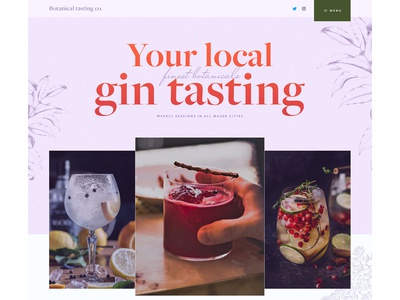 Landing page for gin tasting company