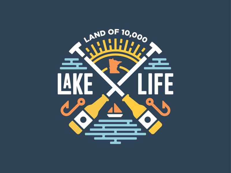 Lake Life illustration creative summer sun logo badge sail boat beer paddle water lakes lake