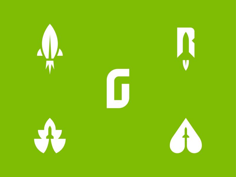 Feedback Needed: Green Rocket Lawn Service green yard care lawn care monogram leaf r g rocket lawn yard