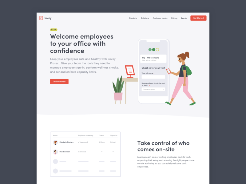 Landing Page for Envoy Protect flat web design illustration