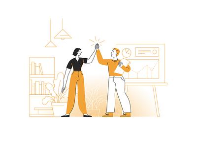 Teamwork flat linear teamwork illustration illustrator vector