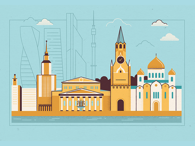 Moscow linear line illustration moscow city