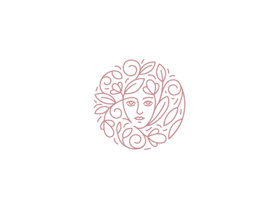 Florapothecarie logo linear woman face beauty skincare cosmetics flower logo