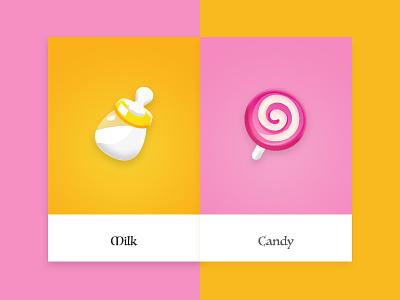 Food Icon kid sweet drink logo card pink candy milk game ui icon food