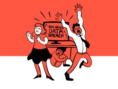 BIG NEWS: Data Breach office vector alert breach news fear scared data illustration