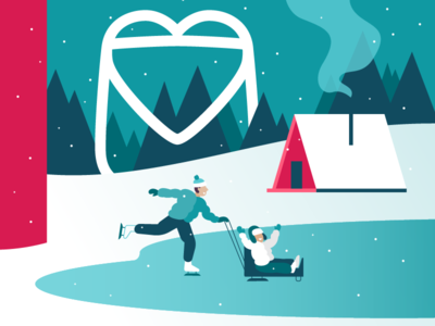 Health & Happiness vector illustration cabin snow winter ice skating health greeting holiday
