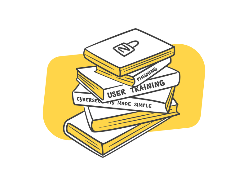 Stacked Books Illustration yellow library lock vector illustration cybersecurity books