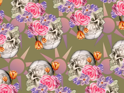 skull pattern flowers skull design painting realism illustration drawing color artist art