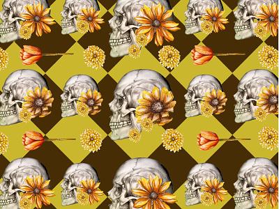 skull pattern autumn skull design painting realism illustration drawing color artist art