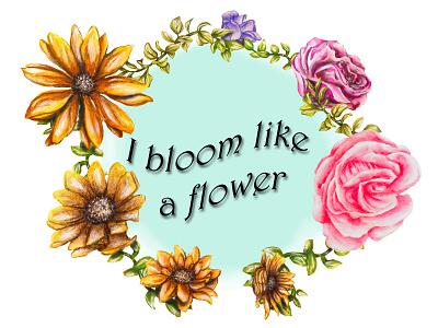frame flowers illustration design frame flowers painting realism illustration drawing color artist art