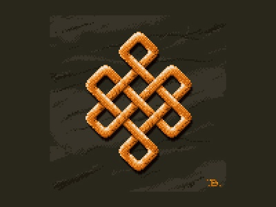 Endless Knot pixel art fantasy jewelry shading pixel dithering