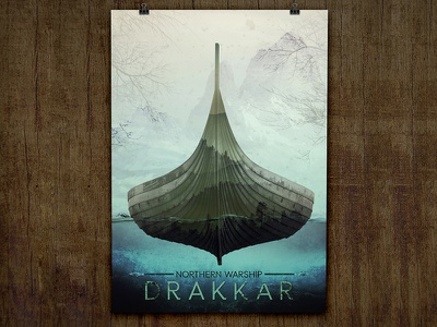 Drakkar. Northern Warship doubleexposure photoshop moviestyle poster water scandinavia mountains vikings drakkar
