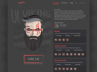 UI Viking Potrfolio blog vector dark svg graphicdesigner viking cv portfolio