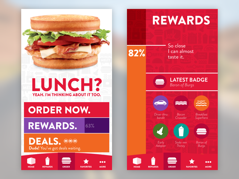 Burger Time rewards online ordering jack in the box burgers ux ui ios