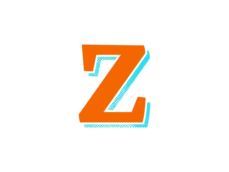 Typehue - Z halftone blue orange typography z typehue