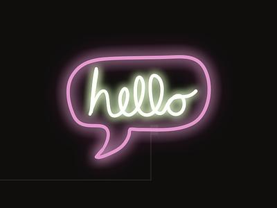 Hello lettering ipad illustration neon