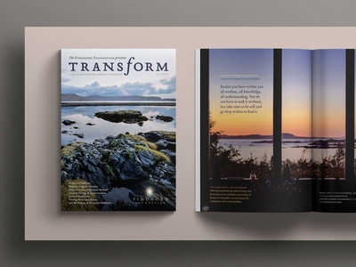 Transform Magazine magazine cover magazine design emigre spirituality nature photography typography branding editorial design