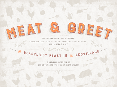 Meat &  Greet | Poster Design 1930s 1920s branding layered type textured carroserie burford orange beige poster culinary food typography 1940s vintage