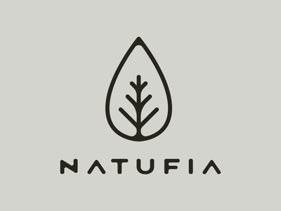 Natufia Logo illustration typography droplet water drop growth rounded corners nature identity logo branding leaf