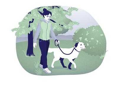 Walking the dog yoush design angelika mata visux park dog walking walk illustration