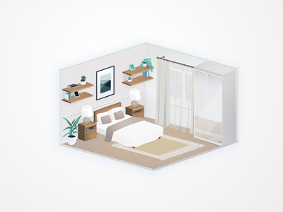 Bedroom view visux angelika mata at home vector illustration view isometric isometry bedroom design interior
