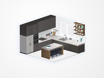 Kitchen visux angelika mata at home vector illustration isometric illustration isometry design interior kitchen